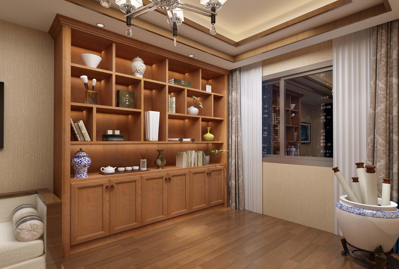 新中式风格书柜效果图